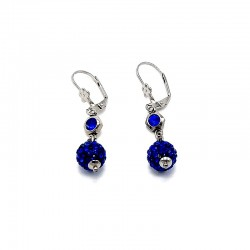 Náušnice Shamballa s kamínkem modré